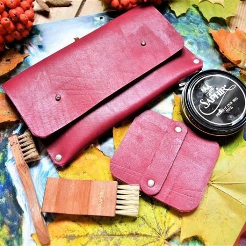 Набор для обуви гляссажный в кожаном клатче nbk-2 цвет бургундия