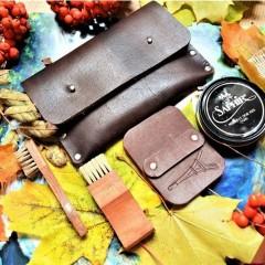Набор для обуви гляссажный в кожаном клатче nbk-3 цвет горький шоколад