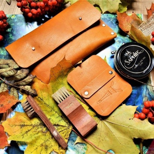 Набор для обуви гляссажный в кожаном клатче nbk-4 цвет молодой олень