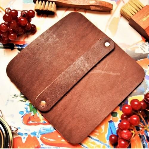 Салфетка профессиональная полировочная большая кожа, фетр цвет горький шоколад slf-11