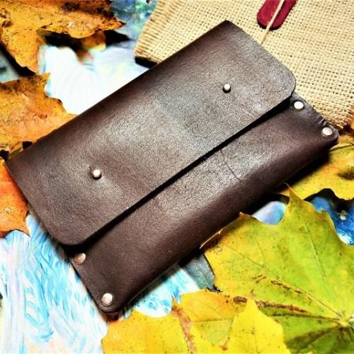 Кожаный клатч под обувную косметику ft-2 цвет горький шоколад
