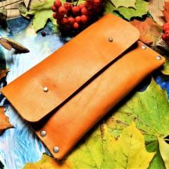 Кожаный клатч под обувную косметику ft-4 цвет молодой олень