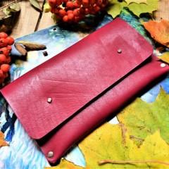 Кожаный клатч под обувную косметику ft-5 цвет бургундия