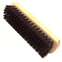 Щетка для обуви из гладкой кожи, для фииишной полировки дерево-свиная щетина темная, светлая колодка 15.5см. Salrus